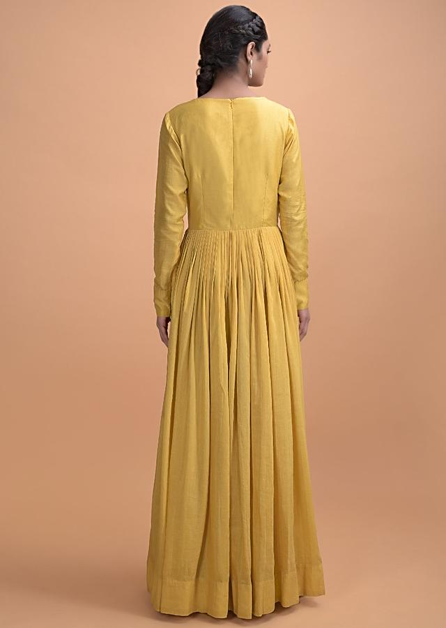 Cyber Yellow Gown In Cotton With Thread Embroidered Bodice Online - Kalki Fashion