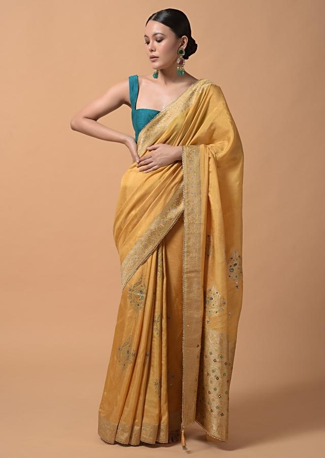 Cyber Yellow Saree In Silk With Woven Ethnic Buttis And Sequins Accents Online - Kalki Fashion