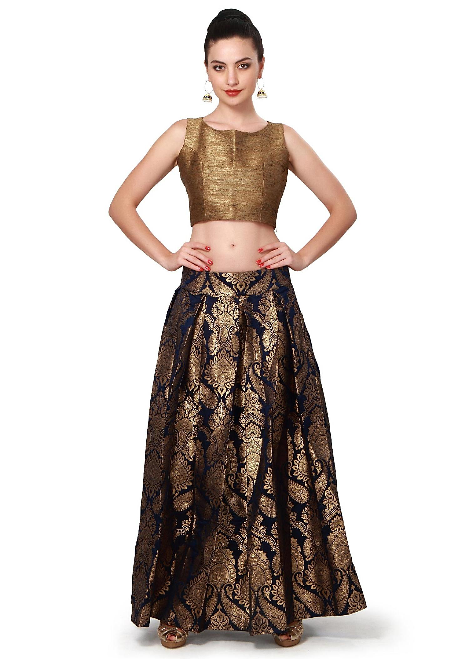 Navy blue skirt matched with gold crop top only on Kalki ...