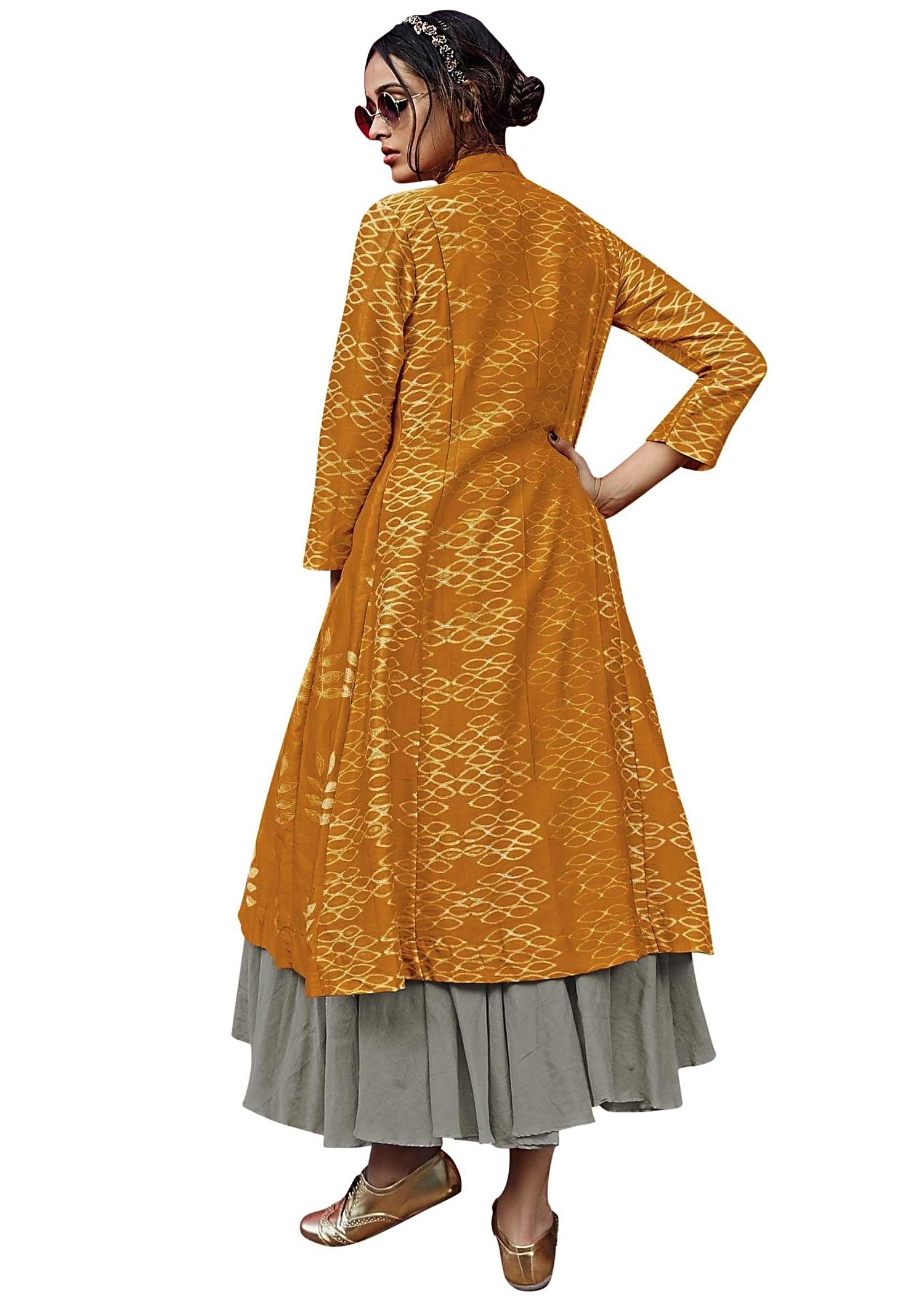 Ocher yellow long top matched with grey skirt - Kalkifashion