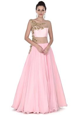 Baby pink gown adorn in zari and kundan embroidery only on Kalki
