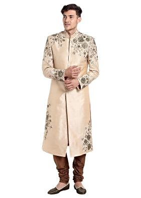 Beige Raw Silk Sherwani Crafted with Zardosi and Zari Work