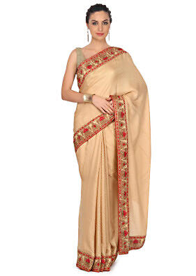 Butterscotch beige saree embellished in embossed thread work