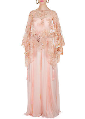Blush Peach Georgette Jumpsuit with Fancy Fabric Cape Adorned with Thread Embroidery and Tassels only on Kalki
