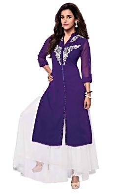 Bue kurti features with embroidered butti