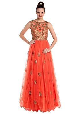 Coral orange net gown adorned with embossed zari work