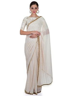 Cream Lycra Saree Featuring Readymade Brocade Blouse