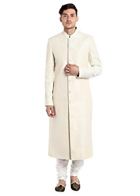 Cream Silk Sherwani with Floral Motifs and Thread Work at Sleeves