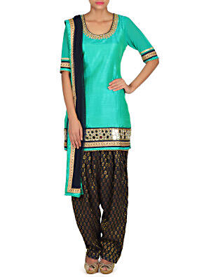 Featuring blue and green patiyala suit in mirror only on Kalki