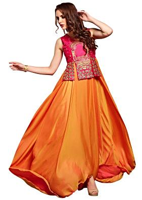 Flame orange anarkali suit with pink embroidered bodice