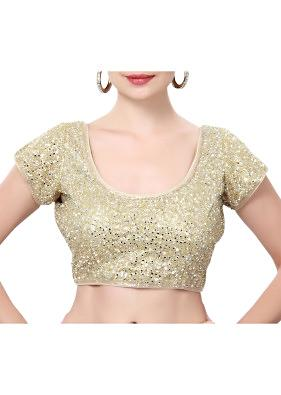 Gold blouse adorn in mirror embroidery only on Kalki