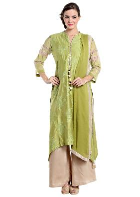 Green and beige suit in chanderi silk and cotton
