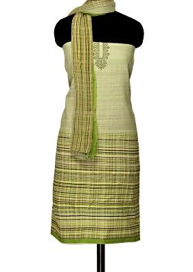 Green and cream unstitched suit with printed dupatta only on Kalki