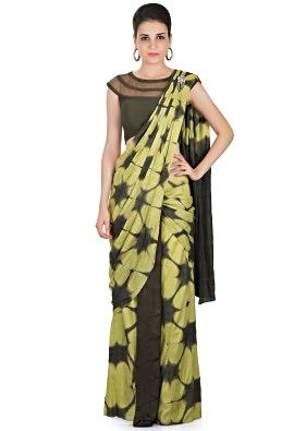 Green Tussar Silk Saree with Tie and Dye Design and Stone Tassel Embellishment