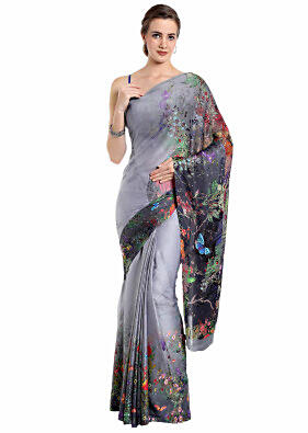 Grey shaded saree in floral motif printed pallav