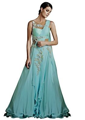 Ice blue drape gown with intricate design embroidery