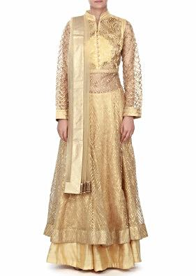 Lime yellow anarkali suit adorn in resham and gotta lace only on Kalki
