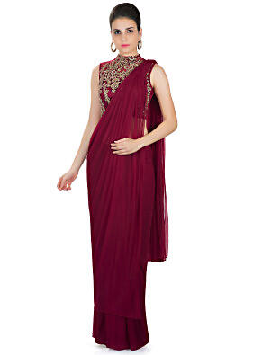 Maroon Georgette Net Saree with Embellished Net Blouse