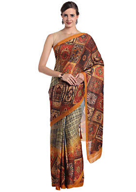 Multi-colored printed crepe saree featuring