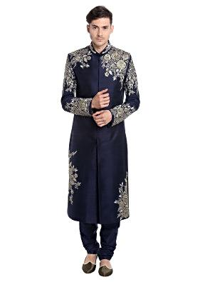 Navy Blue Raw Silk Sherwani Featuring Zari Embellishments