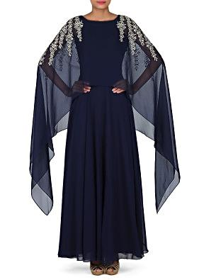 Navy blue suit with attached cape in gotta work only on Kalki