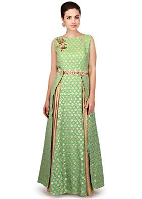 Nile green top featuring with shimmer palazzo pant only on Kalki