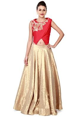 Off white lehenga matched with red blouse only on Kalki