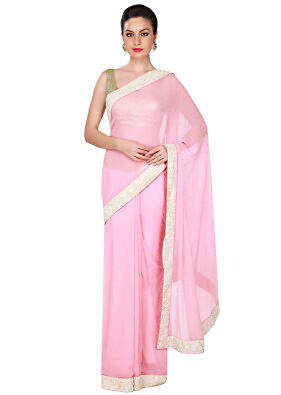 Pink chiffon saree with white border only on Kalki