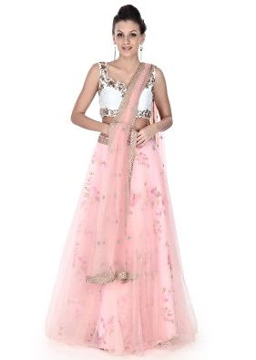 Pink floral lehenga with zardosi blouse only on Kalki