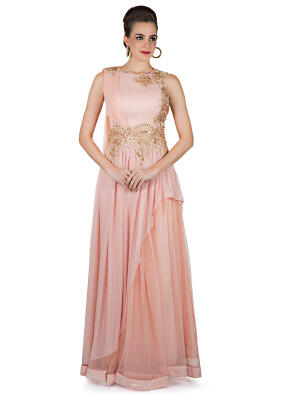 Pink Georgette and Net Gown Enhanced by Floral Motifs in Zardosi
