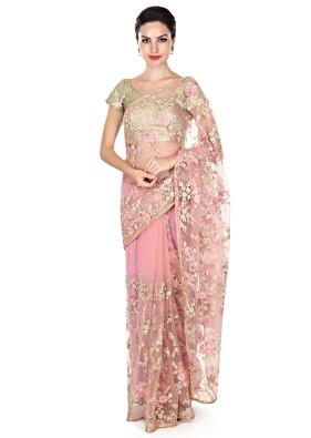 Pink saree embellished in resham in floral motif only on Kalki