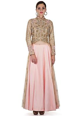 Pink Taffeta Silk Skirt and Fancy Net Blouse with Sequins and Zardosi 3D Flowers