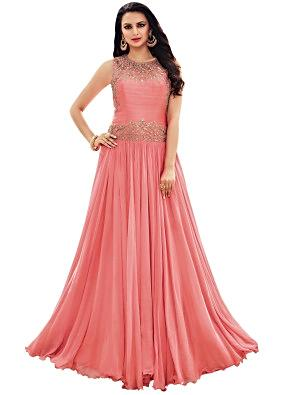 Salmon pink gown with zari and kundan embellished yoke