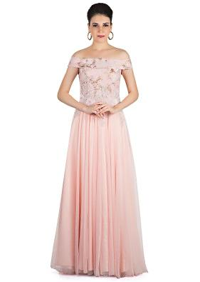 Seashell Pink Georgette Net Gown Crafted with 3D Flower and Cut Dana Work