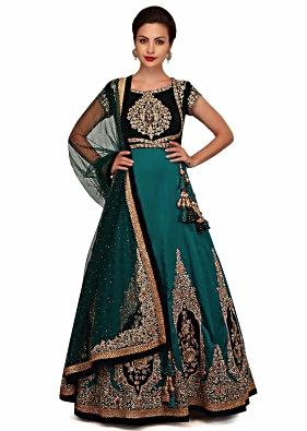 Teal blue anarkali suit in zardosi hand embroidery only on Kalki