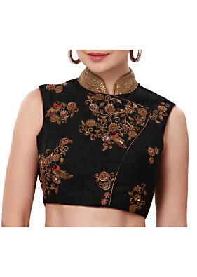 Black blouse adorn in bird motif embroidery only on Kalki