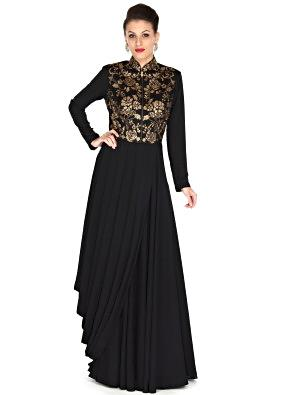 Black suit adorn in kundan and cowl drape only on Kalki