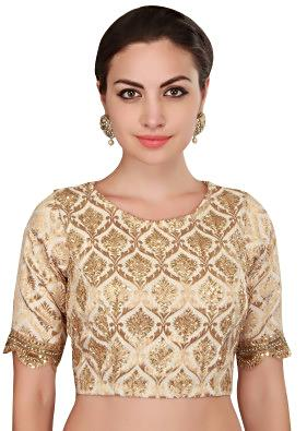 Cream brocade blouse with embroidered butti only on Kalki