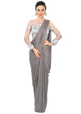 Grey saree matched with embbroidered blouse only on Kalki