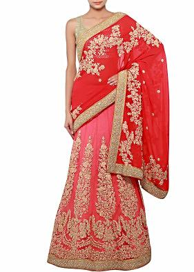 Half and half saree in red and peach adorn in thread and zari embroidery only on Kalki