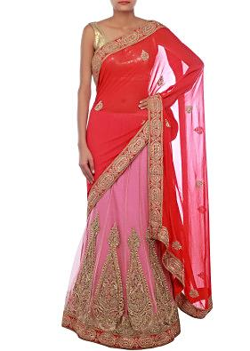 Pink and red lehenga saree embellished in zardosi and kardana embroidery only on Kalki