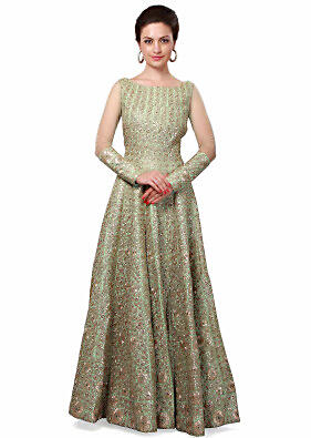 Sea green anarkali suit enhanced in zari thread and aari embroidery only on Kalki