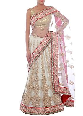 White lehenga saree embellished in pearl and zari embroidery only on Kalki