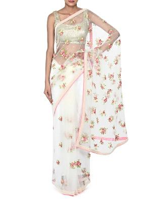 White saree in net with 3 D flower and pearl work only on Kalki
