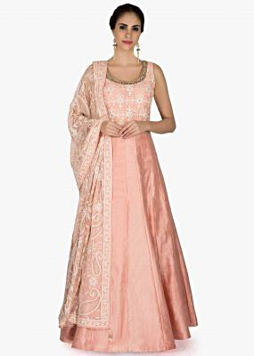 Peach anarkali suit with lucknowi thread embroidered bodice only on Kalki