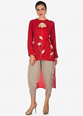 Cherry red top in pita zari work matched with grey overlapping pants only on Kalki