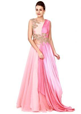 Pink lehenga with embroidered attached dupatta only on Kalki