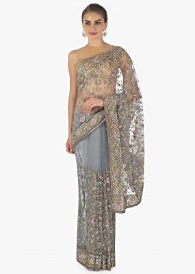 Grey net saree in resham embroidery only on kalki