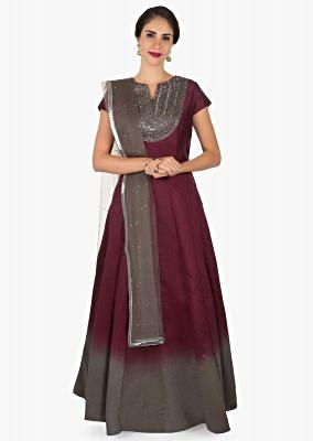 Maroon and grey shaded anarkali suit crafted in cut dana and sequin embroidery work only on Kalki