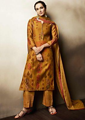 Mustard brown unstitched suit in cotton with floral butti and printed neckline